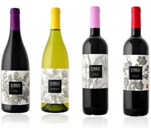 wine bottles with labels and caps